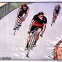 Racing cyclists, artist M Dorothy Hardy, 1904 Olympics