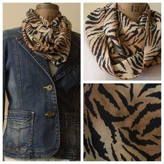 Lightweight tiger print infinity scarf, $20 @ etsy.com/shop/momandmestitch