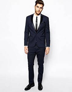 Enlarge ASOS Tuxedo In Navy With Satin Lapel