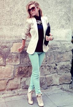 Mint skinny + black top + white blazer