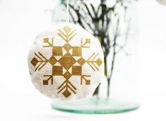 stuffed linen gold and white snowflake ornament with by AIYshop