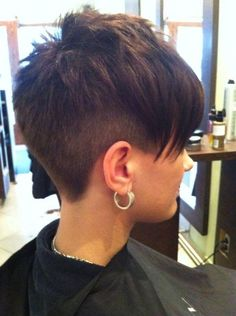 Not quite that short on the back and sides and with longer bangs.... but I like this. #PixieHairstylesLonger