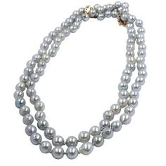 14KT YELLOW GOLD, CULTURED SILVER PEARL STRAND NECKLACE #Unknown #StrandString