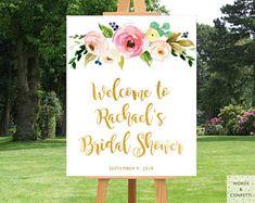Floral Bridal Shower Decorations, Bridal Shower Banner Printable, Bridal Shower Sign, Decor, Welcome Sign, Bachelorette Party Decorations