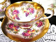 Paragon tea cup and saucer THICK GOLD bands & fruits roses pattern teacup wide