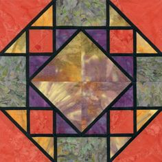 Stained Glass Corn & Beans Quilt Block Pattern