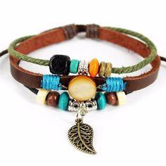 Bracelet - 'Colorful Feather' Leather Essential Oil Bracelet Diffuser