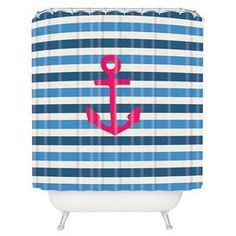 """DENY Designs striped shower curtain.   Product: Shower curtainConstruction Material: 100% PolyesterColor: Blue and pinkFeatures:  Full color front and solid white backSix color dye process and custom printed for every orderButton hole openings Designed by Bianca Green for DENY DesignsDimensions: 69"""" H x 72"""" WNote: Shower rings not includedCleaning and Care: Machine wash cold and tumble dry"""