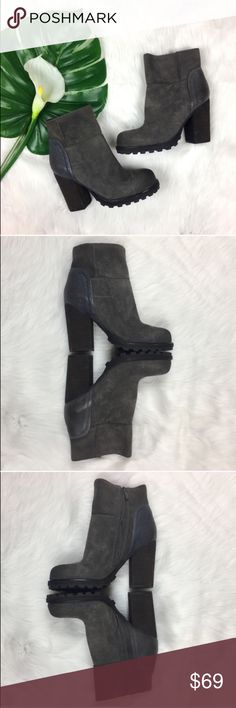 Sam Edelman Franklin Booties Sam Edelman Franklin Booties in grey. Size 7 1/2 with 4' heel. Pre-owned condition with very basic wear. Has a few normal/natural scuffs and scratches on suede and one spot on heel that is from storing. No box no dust bag. Zipper enclosure located on the sides. Back leather patch has a blue tint with basic wear.  Real leather. ❌I do not Trade 🙅🏻 Or model💲 Posh Transactions ONLY Sam Edelman Shoes Ankle Boots & Booties