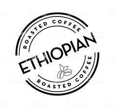 Ethiopian Roasted Coffee round labels on coffee bean on white background royalty-free ethiopian roasted coffee round labels on coffee bean on white background stock vector art & more images of circle