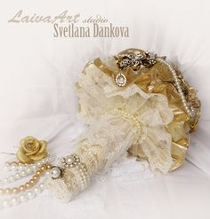 Gold Brooch Bouquet Fabric Flowers Bouquet