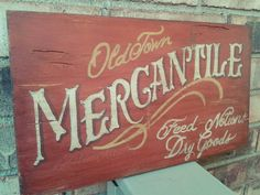 Vintage Reclaimed Wood Mercantile sign by LeftHandArtistry on Etsy Antique Signs, Vintage Signs, Vintage Fonts, Homemade Chalk Paint, Palette, Cool Woodworking Projects, Old Signs, Shop Front Design, Vintage Room