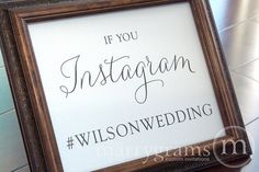 Wedding Reception Instagram Sign  Social Media by marrygrams, $8.00