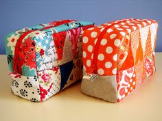 Patchwork Please Pouch Both  sewing- using patterns that campers make, then turning it into something