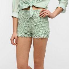Mint green lace shorts. Kimchi Blue (urban outfitters brand) mint green lace short. Zipper side with hook and eye clasp. Kimchi Blue Shorts
