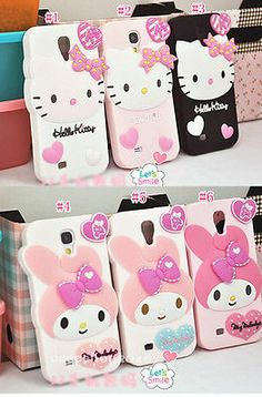 Cut Hello Kitty Cartoon soft Silicone Cover Case For Samsung Galaxy SIV S4 I9500