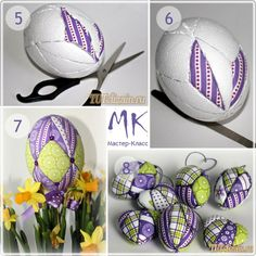 Puff fabric Styrofoam eggs to decorate tutorial EASTER.