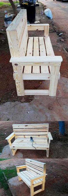 Crafting with Wood Pallets: Projects for Rustic Furniture, Decor, Art, Gifts and Outdoor Furniture Plans, Wooden Pallet Furniture, Wooden Pallets, Rustic Furniture, Diy Furniture, Pallet Benches, Diy Pallet Projects, Wood Projects, Woodworking Plans
