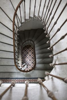 old original french stone twisting  spiral staircase by Nathalie Priem interiors photographer