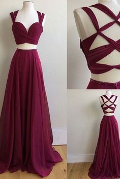 Sexy+Two+Pieces+Evening+Prom+Dresses,+Burgundy+Band+Chiffon+prom+dresses,+Long+prom+dresses,+prom+dresses+2017,+elegant+prom+dresses,++17007 The+Sexy+Two+Pieces+Evening+Prom+Dresses+are+fully+lined,+8+bones+in+the+bodice,+chest+pad+in+the+bust,+lace+up+back+or+zipper+back+are+all+available,+tota...