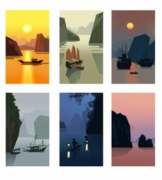 Late night studies from photos of Ha Long Bay, Vietnam. Landscape Illustration, Graphic Illustration, Illustrations, Night Illustration, Posca Art, Guache, Environment Concept Art, Aesthetic Art, Art Tutorials