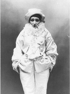 """Sarah Bernhardt in 1883 as Pierrot in Jean Richepin's """"Pierrot the Murderer"""""""