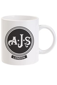 A retro classic AJS Motocycle logo on a high quality ceramic mug. A distressed print for that retro look and feel. We think these classic logos are great pieces of design and look fantastic. Ceramic Mug Dishwasher Safe Scratch Resistant Ajs Motorcycles, Motorcycle Logo, Free Uk, Motorbikes, Badge, Delivery, Ceramics, Mugs, Retro