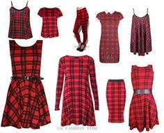 NEW WOMENS LONG SLEEVE TARTAN CHECK PRINT SWING,TUNIC DRESS,LEGGINGS,SKIRTS