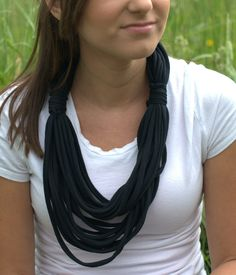 Tshirt Scarf Black Scarf Infinity Scarves by Scarvesbystephy, $20.00