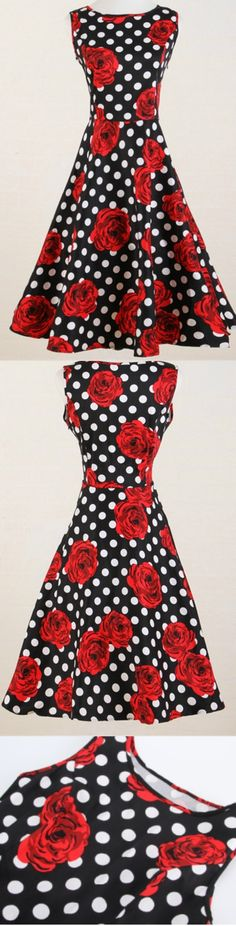 Polka Dot Red Rose Print Dress! Click The Image To Buy It Now or Tag Someone You Want To Buy This For. #PolkaDotDress