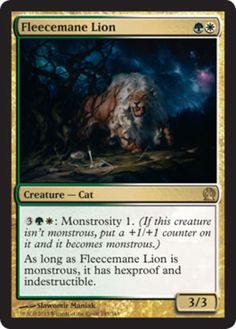 Fleecemane-Lion-x4-Magic-the-Gathering-4x-Theros-mtg-card-lot-rare-gold-cat