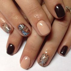 Autumn nails 2016, Brown nails, Calm nails, Floral nails, flower nail art, Nails with stickers, November nails 2016, October nails 2016