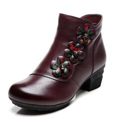 f811b35a Flower Genuine Leather Vintage Mid Heel Warm Fur Lining Short Boots is  hot-sale. Come to NewChic to buy womens boots online.
