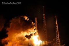 Blastoff of SpaceX Falcon 9 from Cape Canaveral Air Force Station on Dec. 21, 2015. 10  minutes later the first stage successfully landed vertically back at the Cape in a historic first time feat.   Credit: Julian Leek