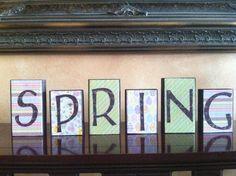 Wood Spring blocks  Seasonal  Spring home Decor by staceymoeves, $20.00