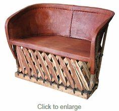 Equipale Love Seat - Mexican pigskin furniture