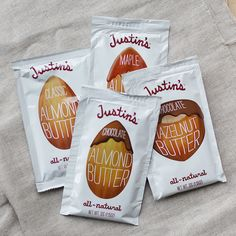 Justin's Nut Butter - I am all cracked out for this stuff! My favorite is the maple almond butter. Also the peanut butter cup candy (dark chocolate) is PHENOMENAL! I'm starting to twitch! Justin's Peanut Butter, Vegan Butter, Almond Butter, Peanut Butter Packets, Hazelnut Butter, Chocolate Hazelnut, White Chocolate, Hiking Food, Backpacking Food