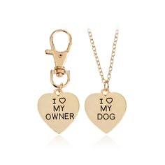 """Fashion Trendy Heary Dog Pendant Necklaces Keychain Set Letter """"I Love My Dog""""""""I Love My Owner""""Charms Statement Choker Necklace  #Affiliate"""
