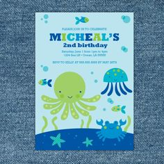 Under the Blue Sea Printable Birthday Party Invitation. $10.00, via Etsy.