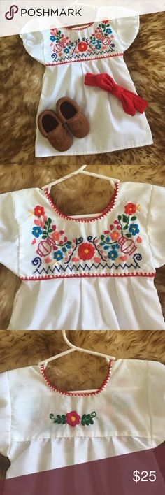 Baby girl Mexican embroidered dress Beautiful!! Baby girl Mexican embroidered dress. Size 1. Can be used as a tunic for older baby or dress for younger baby. I've used it for both. 100% cotton. Hand stitched. Shirts & Tops Blouses