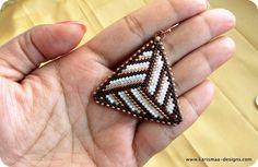Colorful Seed bead earrings Peyote stitch triangle triangular beaded triangular - white, cream, bronze and brown beaded earrings. $22.00, via Etsy.