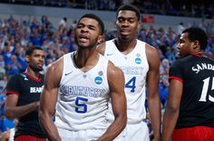 """3.21.15 Let's take a moment to appreciate Andrew Harrison. After the game Coach Calipari had this to say about the Twins, """"They carried us to the championship game last year and they're starting to do the same this year."""" while lamenting the fact that they never got much credit for doing so. Perhaps this season that will all change. Aaron continues to hit big shots exactly when they're needed. As for Andrew.."""