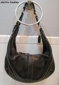 100% COACH Leather Hampton Classic Hobo in Black Leather - SOLD!!!!!!!  #Coach #Hobo