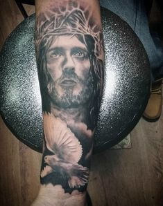 God And Dove Religious Tattoo Guys Forearms