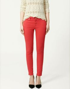 love my red pants...just need a lace top like this to pair them with!