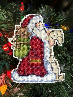 Permin Santa Claus Stocking Father Christmas Cross Stitch Chart X4