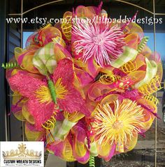 Summer Butterfly Mesh Wreath by lilmaddydesigns on Etsy, $125.00