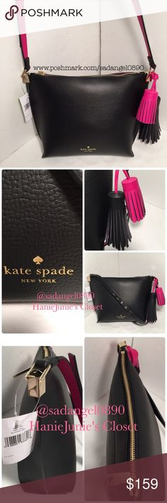 KATE SPADE PEPPER FOSTER COURT CROSSBODY BRAND NEW AND 100% AUTHENTIC. Measurements:      Height: 8 inches      Length: 10 inches on the widest portion      Depth: 3 1/2 inches  Long bi-colored strap adjustable up to approximately 22 inches drop Front lower has Kate Spade logo stamped in gold color. With 2 bi-colored tassels.  Inside is unlined with a zip wall pocket and a slip multi-function pocket. kate spade Bags Crossbody Bags