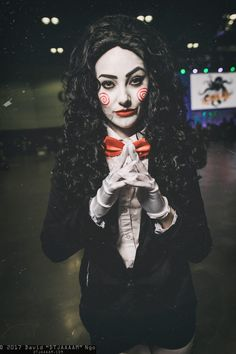 "Character: Billy the Puppet (Rule #63) / From: Lions Gate Entertainment's 'Saw' / Cosplayer: Megan Golden (aka Megan Golden Cosplay) / Photo: David ""DTJAAAAM"" Ngo / Event: Los Angeles ComicCon (2017)"
