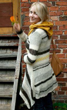Hand knit coat for women asymmetric knit coat linen by Kampsun